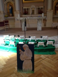 Some of the art the boys prepared for the church last year.