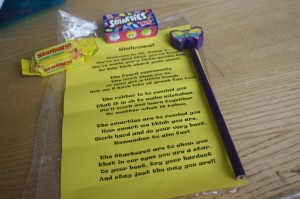 Ms. Whyte made a welcome pack for every child in the school!