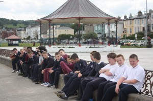 Considering the bandstand before the walk home!